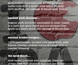 Brick wall menu - main offering